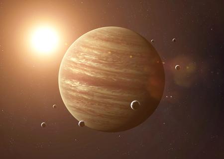 Immagine colorata rappresenta Giove e le sue lune. Elementi di questa immagine fornita dalla NASA. Archivio Fotografico - 45841295