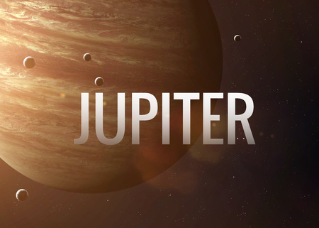 jupiter: Lettering on the background of the Jupiter.  Stock Photo