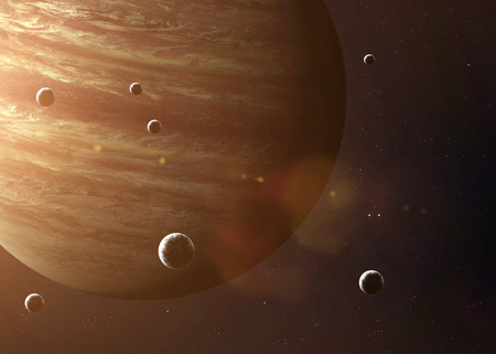 moons: Colorful picture represents Jupiter and its moons.