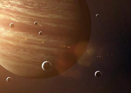 Cuadro colorido representa Júpiter y sus lunas. Foto de archivo