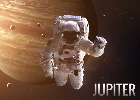 kepler: Colorful shot that shows NASAs astronaut in open space near planet Jupiter. Elements of this image furnished by NASA. Stock Photo