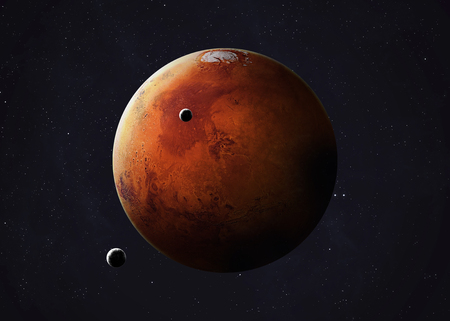 Colorful picture represents Mars and its moons.