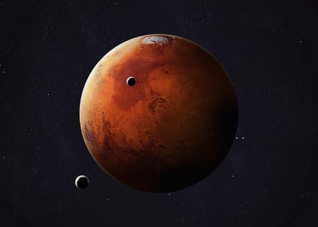 colorida imagen representa Marte y sus lunas. Foto de archivo