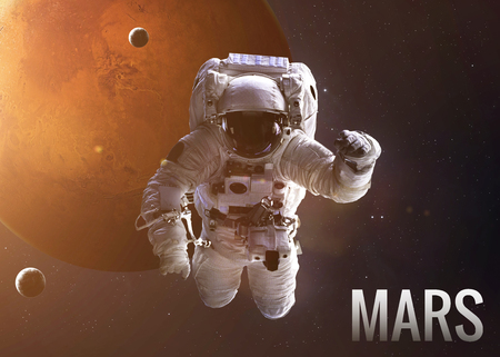 astronaut space: Colorful shot that shows NASAs astronaut in open space near planet Mars.