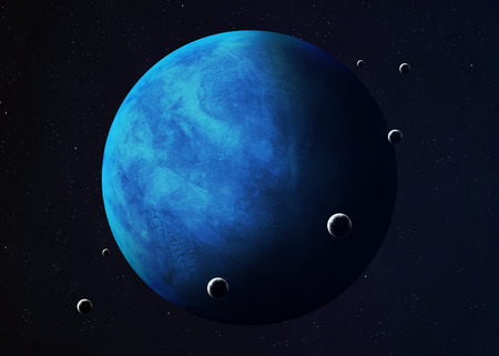 moons: Colorful picture represents Neptune and its moons. Elements of this image furnished by NASA.