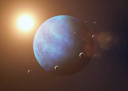 neptune: Colorful picture represents Neptune and its moons.  Stock Photo