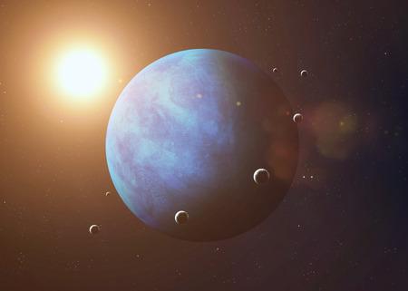 neptuno: Cuadro colorido representa Neptuno y sus lunas.