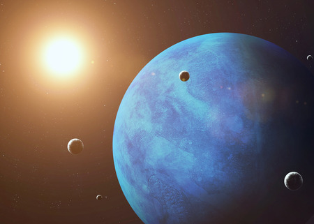 moons: Colorful picture represents Neptune and its moons.  Stock Photo