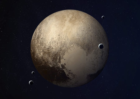 Kleurrijk beeld vertegenwoordigt Pluto en zijn manen.