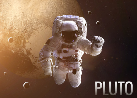 pluto: Colorful shot that shows NASAs astronaut in open space near planet Pluto.