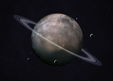 Cuadro colorido representa Urano y sus lunas. Foto de archivo