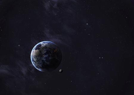 De Aarde vanuit de ruimte te zien alles wat ze schoonheid. Zeer gedetailleerd beeld, met inbegrip van elementen geleverd door NASA. Andere oriëntaties en planeten beschikbaar.