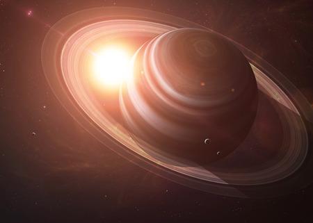 El Saturno con las lunas tiro del espacio que muestra todo lo que la belleza. Extremadamente detallado de imagen, incluidos los elementos aportados por la NASA. Otras orientaciones y planetas disponibles.