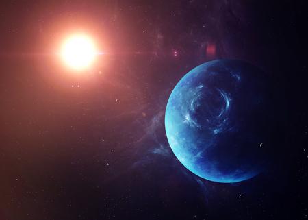 De Neptune met manen geschoten vanuit de ruimte te zien alles wat ze schoonheid. Zeer gedetailleerd beeld, met inbegrip van elementen geleverd door NASA. Andere oriëntaties en planeten ter beschikking.