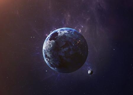 すべての彼らの美を示す宇宙から地球。非常に詳細な画像は、NASA から提供された要素を含みます。その他の方向と利用可能な惑星。