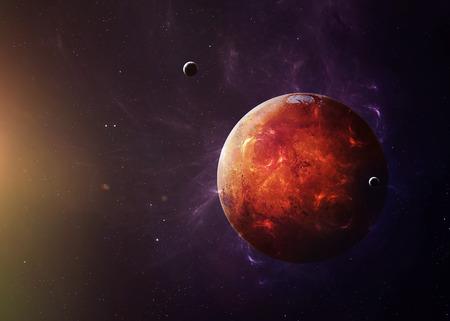 De Mars schoot uit de ruimte en laat alles zien wat ze schoonheid hebben. Zeer gedetailleerd beeld, inclusief elementen die door NASA zijn ingericht. Andere oriëntaties en planeten beschikbaar.