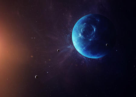 kepler: The Neptune with moons shot from space showing all they beauty. Extremely detailed image, including elements furnished by NASA. Other orientations and planets available. Stock Photo