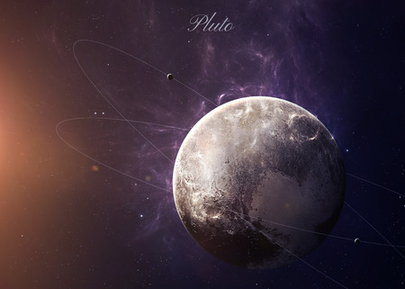 pluto: The Pluto with moons shot from space showing all they beauty. Extremely detailed image, including elements furnished by NASA. Other orientations and planets available.