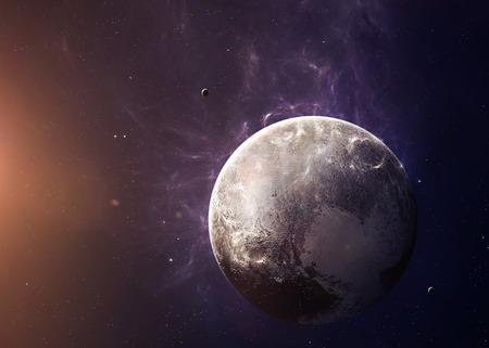 月と冥王星は、領域すべての彼らの美しさから撮影。非常に詳細な画像は、NASA から提供された要素を含みます。その他の方向と利用可能な惑星。 写真素材