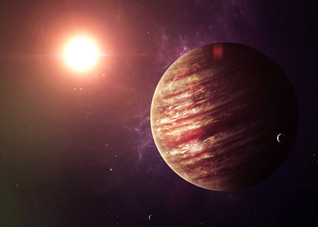 universe: The Jupiter from space showing all they beauty. Extremely detailed image, including elements furnished by NASA. Other orientations and planets available.