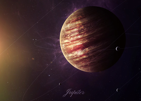 pluto: The Jupiter from space showing all they beauty. Extremely detailed image, including elements furnished by NASA. Other orientations and planets available.