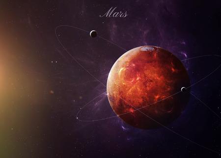 The Mars schoot vanuit de ruimte te zien alles wat ze schoonheid. Zeer gedetailleerd beeld, met inbegrip van elementen geleverd door NASA. Andere oriëntaties en planeten ter beschikking. Stockfoto