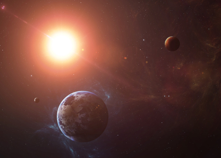 solar system: The Earth and Mars from space showing all they beauty. Extremely detailed image, including elements furnished by NASA. Other orientations and planets available.