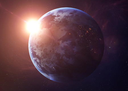 earth space: The Earth from space showing all they beauty. Extremely detailed image, including elements furnished by NASA. Other orientations and planets available.