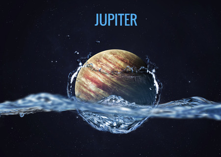 jupiter light: Solar system planet drops in to the water with splash.
