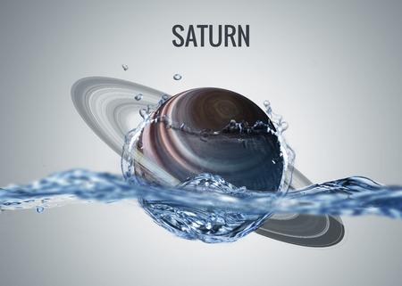 sistema: Solar planeta del sistema cae en el agua con el chapoteo. Foto de archivo