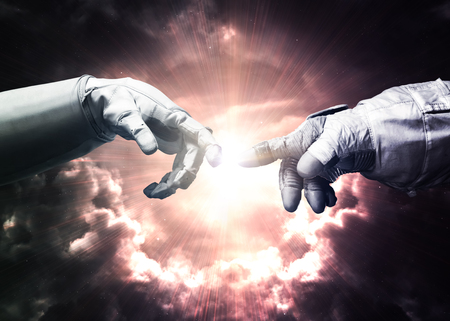 god hand: Michelangelo Gods touch. Close up of human hands touching with fingers in space.