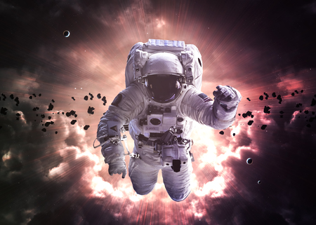 provide: An astronaut floats above billions of stars. Stars provide the background.