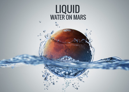water: Discovered liquid water on the planet mars, great science discovery.  Stock Photo