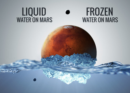 discovered: Discovered liquid water on the planet mars, great science discovery.  Stock Photo