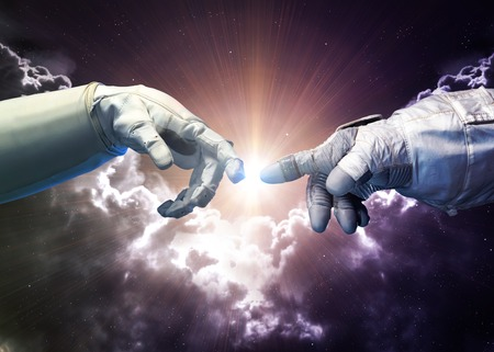 universe: Michelangelo Gods touch. Close up of human hands touching with fingers in space.   Stock Photo