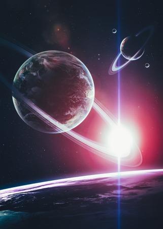 wereldbol: Mooie Planeten in diepe zwarte kosmos met ruimte achtergrond.