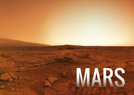 the  of the surface: Mars surface.  Stock Photo