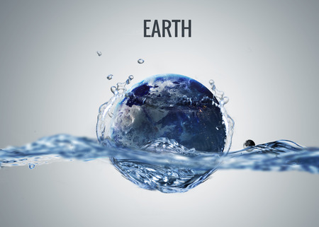 Solar system planet drops in to the water with splash.