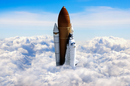 raumschiff: Raumfähre Ausziehen auf einer Mission.
