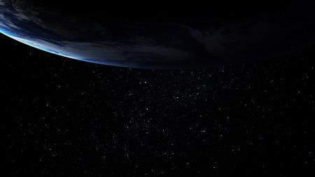 空間で、地球の高解像度画像。