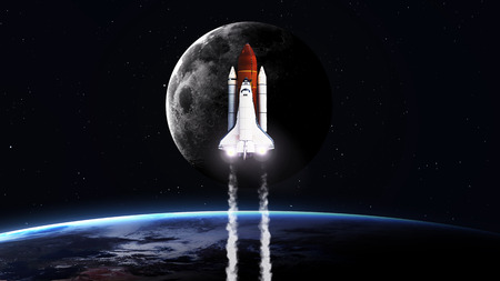take a history: 5K resolution image of Space shuttle taking off on mission.  Stock Photo