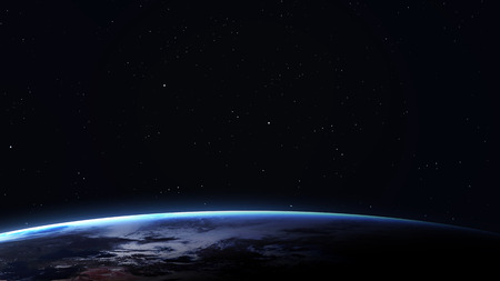 space: 5K resolution image of Earth in space.