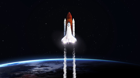 5K resolution image of Space shuttle taking off on mission. Imagens - 46700766