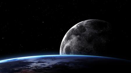 sonne mond und sterne: 5K Auflösung Bild Erde im Raum.