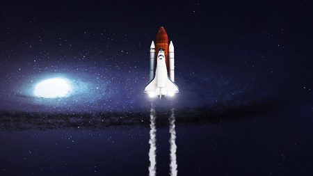 5K resolution image of Space shuttle taking off on mission.