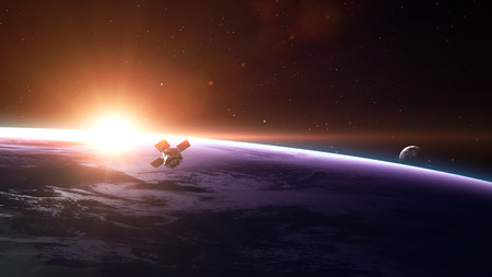earth space: Space satellite orbiting the earth.  Stock Photo