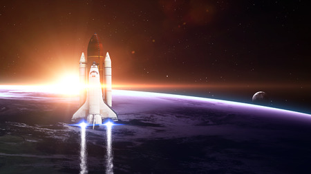blast off: Space shuttle Leaving Earth - Elements of this Image Furnished By NASA
