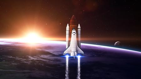 sistema: El transbordador espacial de dejar la tierra - Los elementos de esta imagen proporcionada por la NASA Foto de archivo