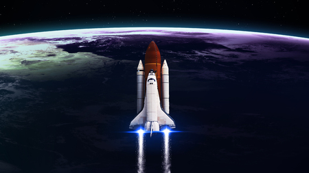 fantasy alien: Space shuttle Leaving Earth - Elements of this Image Furnished By NASA