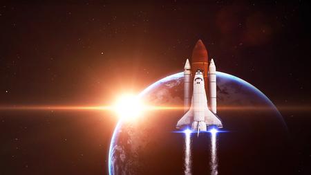 El transbordador espacial de dejar la tierra - Los elementos de esta imagen proporcionada por la NASA Foto de archivo - 47560460